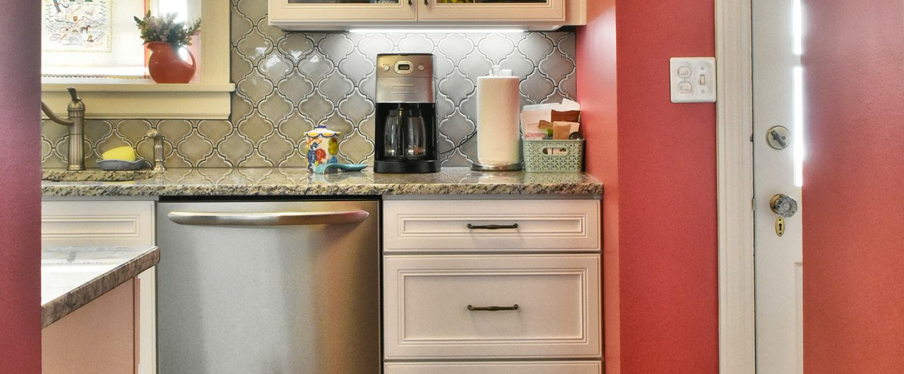 Louisville Interior Designer, Louisville Interior Design, Kitchen Interior Design, Granite Countertop, Stainless Appliances, Tile Backsplash, White Kitchen Cabinets, Galley Kitchen, Bold Colors, Glass Kitchen Cabinet Doors