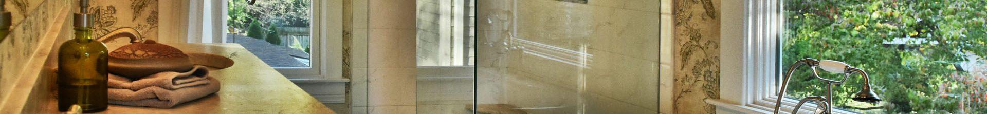 Louisville Interior Designer, Louisville Renovation Designer, Interior Design, Renovation Design, Master Bath Renovation, White Vanity, Marble Vanity Top, Stainless Fixtures, Bathroom Mirror, Vanity Lighting, Marble Floor Tile, Wallpaper, Beautiful Master Bath Renovation, Freestanding Soaking Tub, Custom Shower Tile, Glass Shower Enclosure