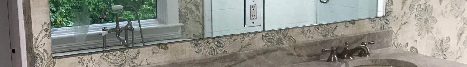 Louisville Interior Designer, Louisville Renovation Designer, Interior Design, Renovation Design, Master Bath Renovation, White Vanity, Marble Vanity Top, Stainless Fixtures, Bathroom Mirror, Vanity Lighting, Marble Floor Tile, Wallpaper, Beautiful Master Bath Renovation