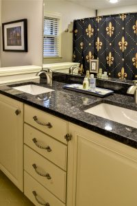 Louisville Kentucky Bath Renovation, Granite Vanity Top, Fleur de Lis Hardware, Fleur de Lis Shower Curtain, Brushed Nickel Faucets