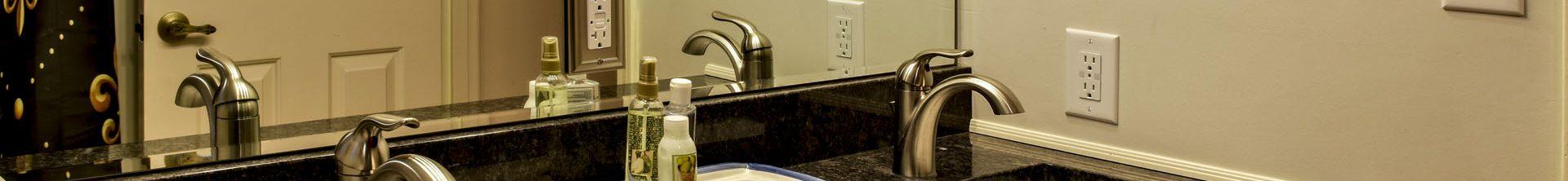 Louisville Kentucky Bath Renovation, Granite Vanity Top, Fleur de Lis Hardware, Fleur de Lis Shower Curtain, Brushed Nickel Faucets