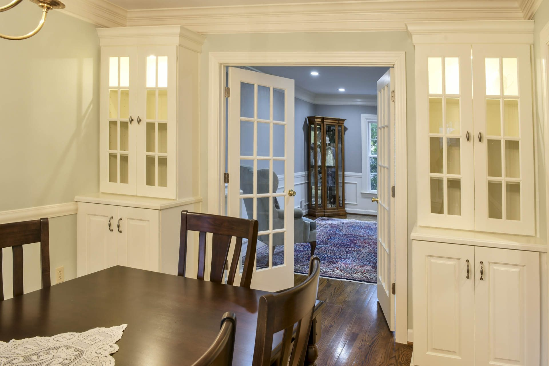 Louisville Kentucky Interior Design, Living Spaces By Lyn, Kitchen Design, Kim Falvey, Dining Room, Custom Built In China Cabinets, Dining Room Furniture, French Doors, Hardwood Flooring, Area Rug