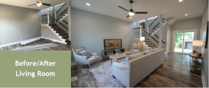 louisville renovation, louisville interior design, shotgun house, Louisville home staging, manufactured hardwood flooring, accessories, living room, lighting, artwork, open staircase, dark hardwood stair treads, wrought iron spindles, ceiling fan, lighting, area rug
