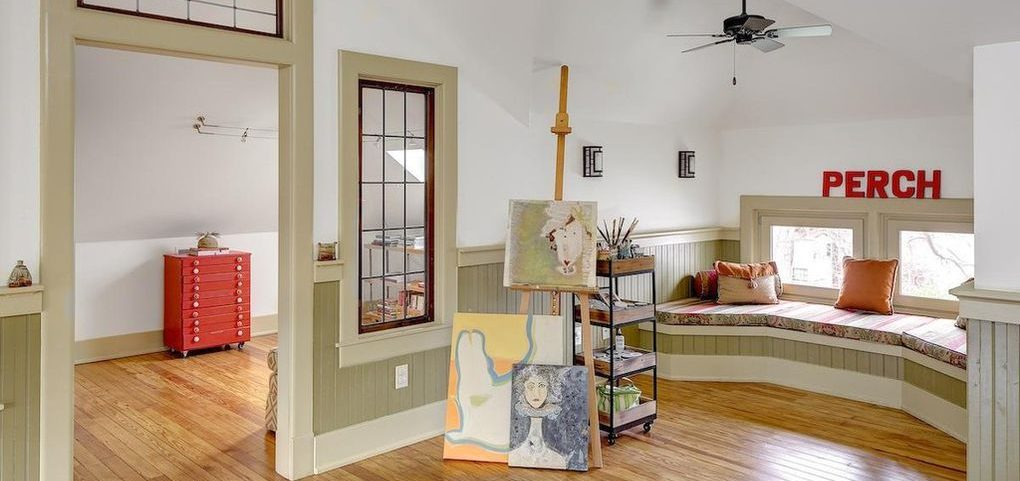 Louisville Home Staging, Louisville Interior Design, Louisville Renovation Design, Artist Studio, Hardwood flooring, artwork, artist retreat, window seat,