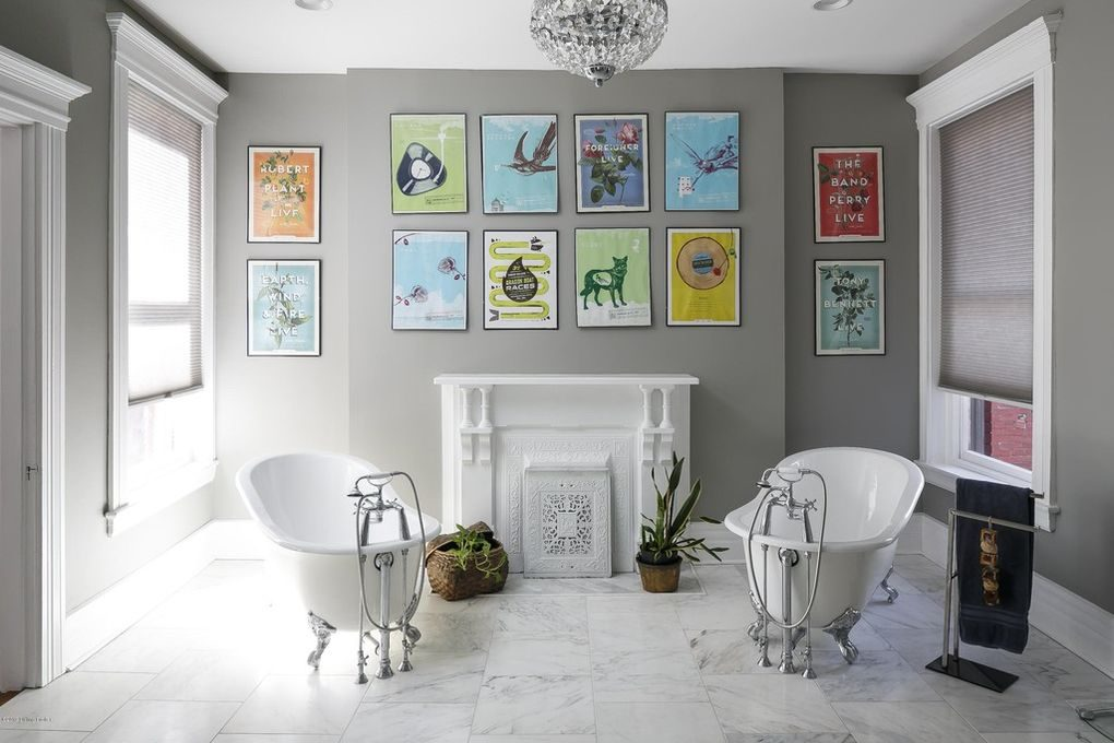 Louisville Interior Design, Louisville Home Staging, dual bathtubs, artwork, crystal bathroom chandelier, bathroom fireplace