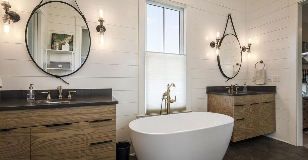 Louisville Interior Design, Louisville Home Staging, vanity lighting, soaking tub, master bathroom design, ceramic tile flooring, rustic vanity, bathroom renovation, vanity mirrors