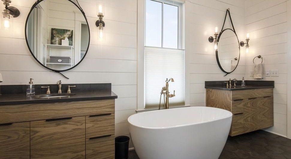 Louisville Interior Design, Louisville Home Staging, vanity lighting, soaking tub, master bathroom design, ceramic tile flooring, rustic vanity, bathroom renovation, vanity mirrors