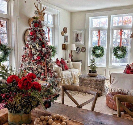 Louisville interior designers, Louisville holiday decor, Christmas Tree decor, wreaths on windows