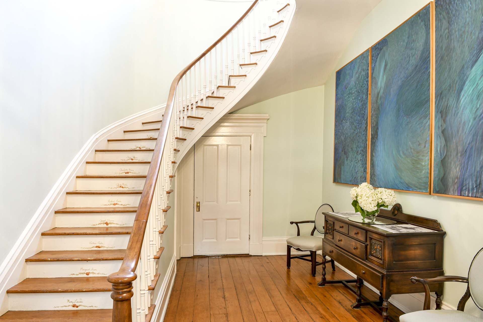 curved staircase, historic home, staged property, Louisville staged homes